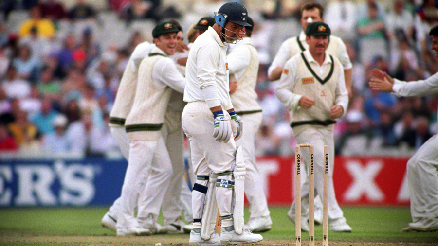 Mike Gatting is bowled by Shane Warne
