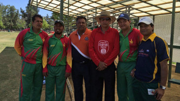 Mohammad Ashraful (second from left) and umpire Nadir Shah (third from right) at the LA T20 Championship