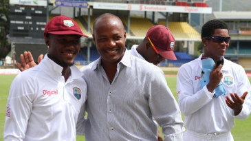 Brian Lara was on hand to present Jermaine Blackwood his first international cap