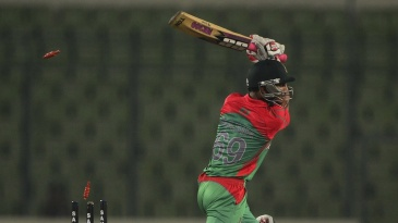Nasir Hossain was bowled for 5