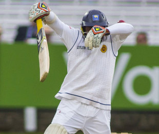 Rangana Herath walked for a glove down the leg side although his hand had come off the bat