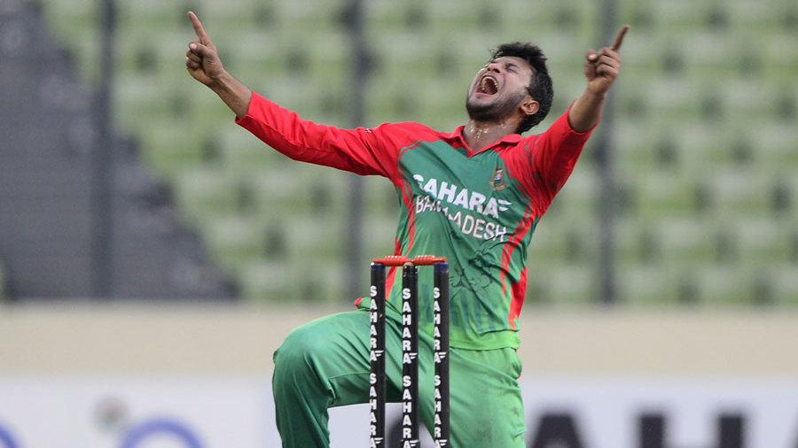 Shakib Al Hasan appeals for a wicket