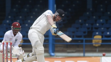 Jimmy Neesham was caught and bowled playing this shot