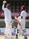 Chris Gayle and Kraigg Brathwaite celebrate West Indies' win, West Indies v New Zealand, 2nd Test, Port of Spain, 5th day, June 20, 2014