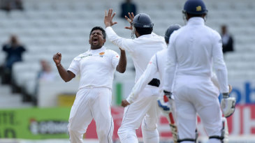 Rangana Herath roars out a celebration