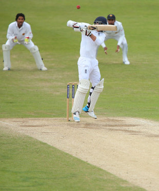The penultimate ball of the Test flies off James Anderson's bat, England v Sri Lanka, 2nd Investec Test, Headingley, 5th day, June 24, 2014
