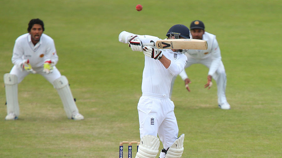The penultimate ball of the Test flies off James Anderson's bat