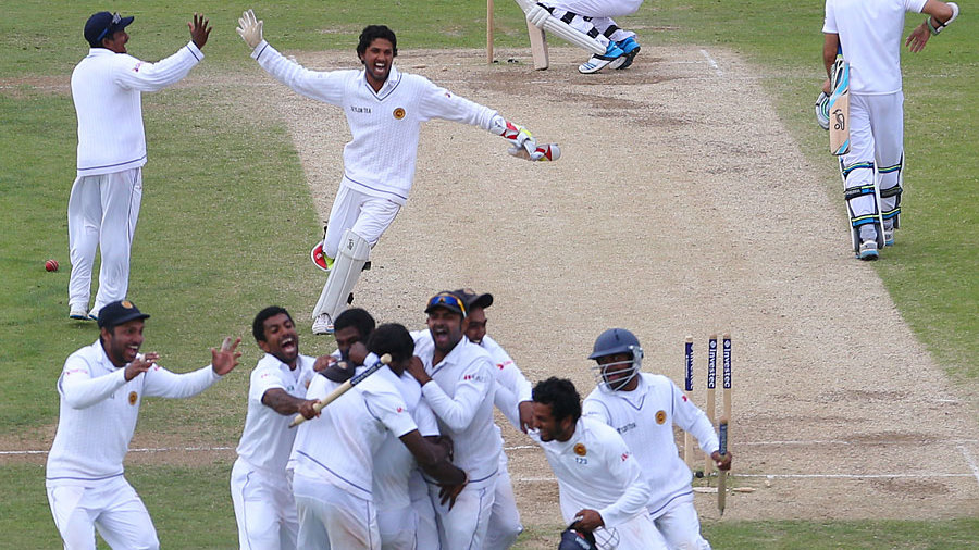 Sri Lanka begin their celebrations after clinching the last wicket