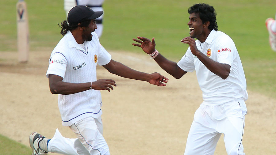 Shaminda Eranga (right) took the series-winning wicket