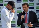 James Anderson breaks down during the post-match presentation, England v Sri Lanka, 2nd Investec Test, Headingley, 5th day, June 24, 2014