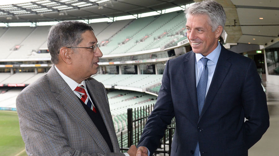 N Srinivasan and Dave Richardson after the ICC meeting