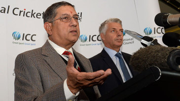 N Srinivasan addresses the media after taking over as ICC chairman