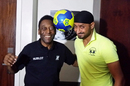 Harbhajan Singh shares a light moment with football great Pele during the FIFA World Cup in Brazil, June 28, 2014