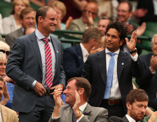 Andrew Strauss and Sachin Tendulkar at Wimbledon, June 28, 2014