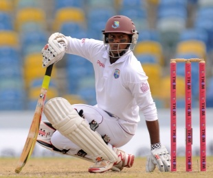 Shivnarine Chanderpaul gets out of the way of a bouncer, West Indies v New Zealand, 3rd Test, Barbados, 3rd day, June 28, 2014