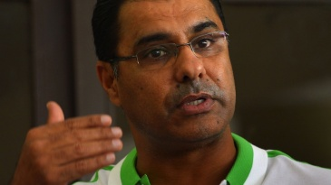 Waqar Younis speaks to reporters