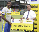 Farveez Maharoof was Man of the Match for his unbeaten 42 off 27, Western Troopers v Southern Express, SLC Super 4's T20 Tournament, Eliminator, Colombo, July 1, 2014