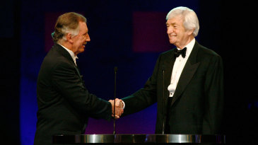 Richie Benaud is inducted into the Australian Cricket Hall of Fame by Ian Chappell