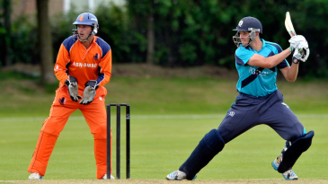 Calum MacLeod cuts on his way to a brisk hundred
