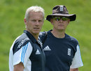 Fancy a recall? Peter Moores chats with spin-bowling coach Peter Such, Loughborough, July 2, 2014