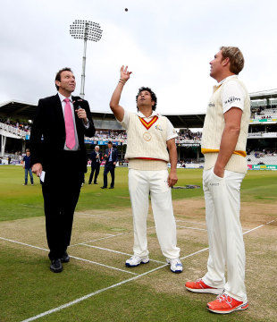 Sachin Tendulkar and Shane Warne at the toss, MCC v Rest of the World XI, Lord's, July 5, 2014