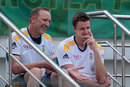 Allan Donald converses with Morne Morkel during a training session, Colombo, July 5, 2014