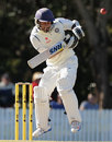 Jiwanjot Singh tries to fend off a short ball,  Australia A v India A, 1st unofficial Test, Brisbane, 1st day, July 6, 2014