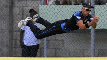 Trent Boult goes airborne to complete a stunning catch