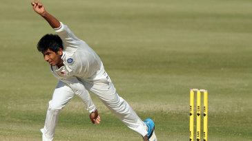 Jasprit Bumrah in his follow-through