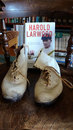 Harold Larwood's bowling boots and his biography by Duncan Hamilton at the Trent Bridge library, July 6, 2014