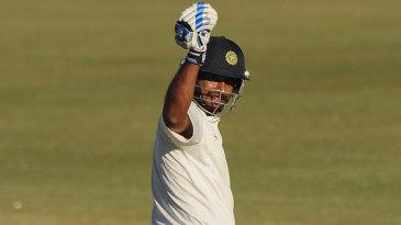Ambati Rayudu celebrates after scoring a century