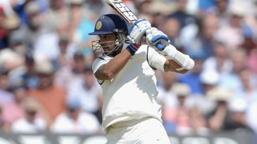 Murali Vijay drives off the back foot on his way to a half-century