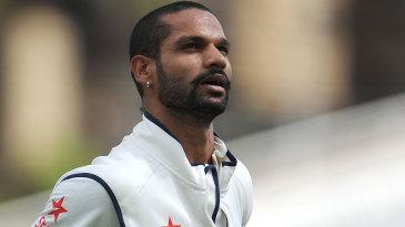 Shikhar Dhawan walks off having made just 12