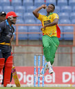 Ronsford Beaton in his delivery stride, Guyana Amazon Warriors v Antigua Hawksbills, CPL 2014, Grenada, July 11, 2014
