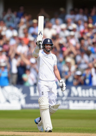 James Anderson celebrates his half-century, England v India, 1st Investec Test, Trent Bridge, 4th day, July 12, 2014