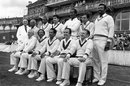 The Old World XI squad poses for photos before the match against the Old England XI at The Oval. Standing (left to right): unknown umpire, Rohan Kanhai, Lance Gibbs, Farokh Engineer, Vanburn Holder, Nawab of Pataudi jr and Charlie Griffith; Sitting: Ray Lindwall, Bertie Clarke, Garry Sobers, Bob Simpson and Neil Harvey, September 17, 1983