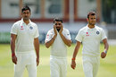 Ravindra Jadeja, Pankaj Singh and Ishwar Pandey walk back from training, Lord's, July 16, 2014