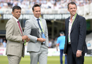 Rahul Dravid, Michael Vaughan and Graeme Swann have a chat ahead of the Lord's Test, England v India, 2nd Investec Test, Lord's, 1st day, July 17, 2014