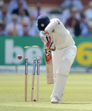 Cheteshwar Pujara is bowled, England v India, 2nd Investec Test, Lord's, 1st day, July 17, 2014