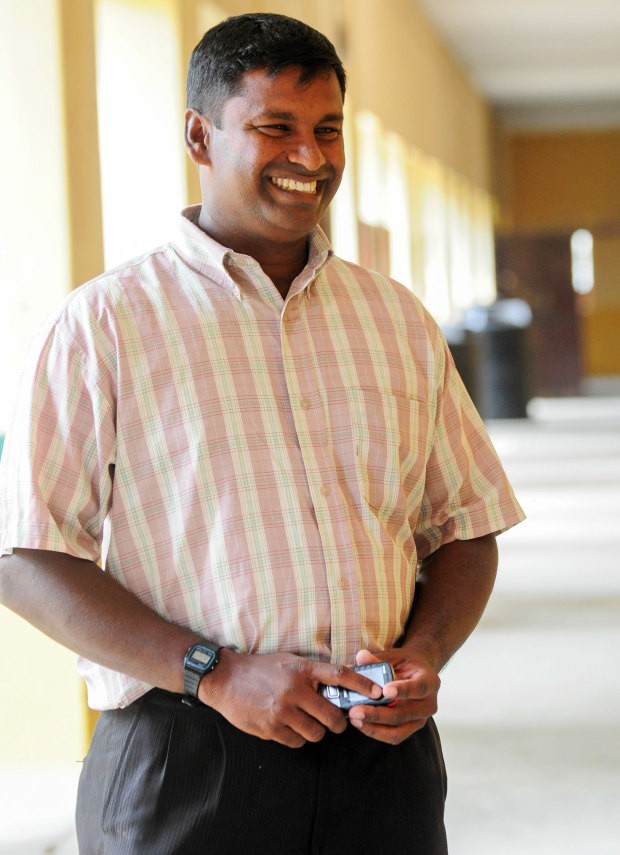 The smiling PT teacher: Nishanthan batted like he was in a trance, and kept wicket for St Patrick's, who he now coaches