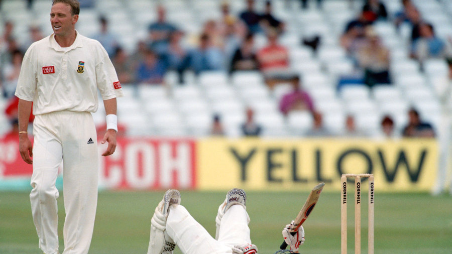 Michael Atherton is floored by Allan Donald