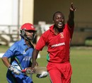 Tendai Chatara breaks into a loud appeal , Zimbabwe v Afghanistan, 1st ODI, Bulawayo, July 18, 2014