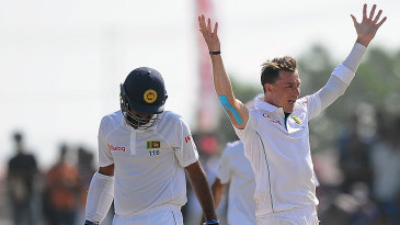Dale Steyn celebrates after getting rid of Lahiru Thirimanne