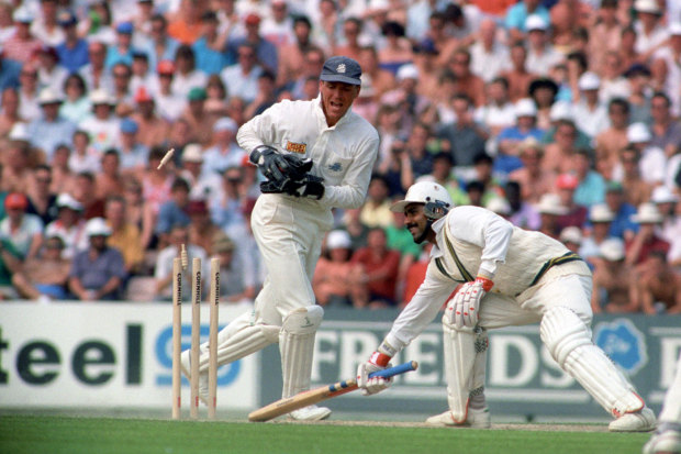 Ever the tempter: Miandad gets back into the crease before Alec Stewart removes the bails, The Oval, 1992