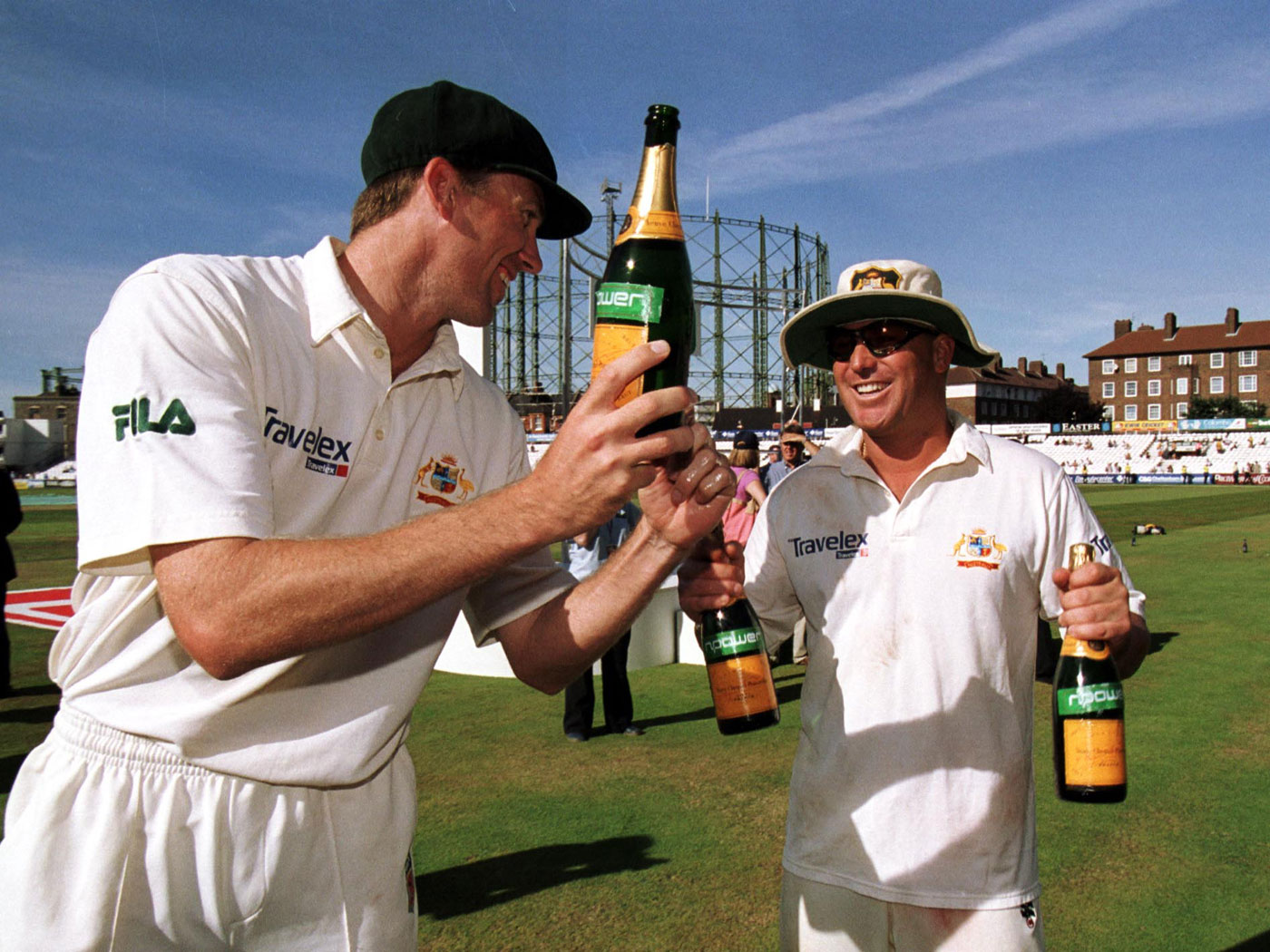 Cheers to us: McGrath and Warne won 71 of the 104 Tests they played together