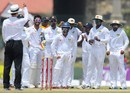Billy Bowden relays the third-umpire's decision after Alviro Petersen asked for a review, Sri Lanka v South Africa, 1st Test, Galle, 4th day, July 19, 2014