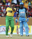 Krishmar Santokie celebrates after taking a wicket, Guyana Amazon Warriors v St Lucia Zouks, CPL 2014, Providence, July 19, 2014