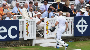 Matt Prior on his way back to the dressing room