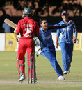 Aftab Alam exults after bowling Donald Tiripano to seal a 100-run win for Afghanistan, Zimbabwe v Afghanistan, 4th ODI, Bulawayo, July 24, 2014