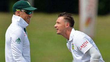 Dale Steyn and Faf du Plessis share a light moment
